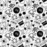 Doodles руки рисуя Безшовная картина с фразами и символами руки Предпосылка вектора безшовная бесплатная иллюстрация