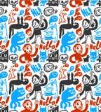 doodles смешное безшовное Стоковая Фотография RF