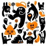 doodles смешной комплект Стоковые Изображения