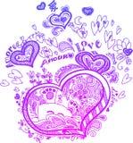 Doodles сделанные эскиз к сердцем Стоковое Изображение RF