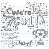 Doodles тетради чемпиона трофея спортов схематичные Стоковые Изображения RF