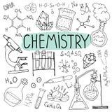 Doodles химии Нарисованная рукой предпосылка науки задняя школа иллюстрации к Стоковое Изображение