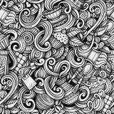Doodles чай шаржа нарисованные вручную и картина кофе безшовная Стоковое Фото