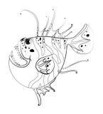 Doodles чертя животное для рыб Стоковые Фото