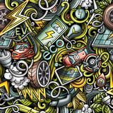 Doodles шаржа милые вручают вычерченному электротранспорту безшовную картину