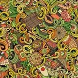 Doodles шаржа нарисованные вручную картины японской кухни безшовной Стоковое фото RF