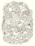 Doodles эскиза Кофе, чай, предпосылка влюбленности Стоковые Фото