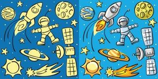 Doodles - элементы космоса, безшовные задние части Стоковое Изображение RF