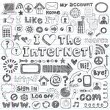 сеть интернета иконы doodles компьютера установленная схематичная Стоковые Изображения RF