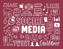 Социальные элементы doodles средств массовой информации Стоковые Изображения