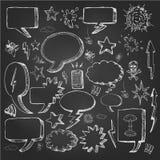 Речь клокочет doodles в черной доске Стоковая Фотография