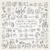 Μεγάλο σύνολο δημιουργικών εικονιδίων επιχειρηματιών doodles Στοκ Φωτογραφία