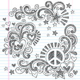 Ειρήνη και αγάπη πίσω διανυσματική απεικόνιση Doodles σχολικών στην περιγραμματική σημειωματάριων Στοκ Φωτογραφίες