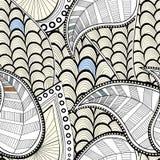 doodles делают по образцу безшовное Текстура с листьями и волнами также вектор иллюстрации притяжки corel Стоковые Фото