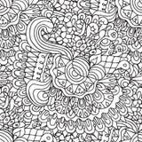 Doodles флористические и кривые конспектируют орнаментальную безшовную картину Стоковое фото RF