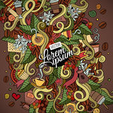 Doodles abstract decorative coffee background Royalty Free Stock Image