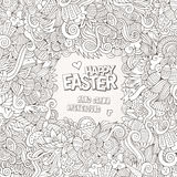 Doodles abstract decorative Easter vector frame Stock Images