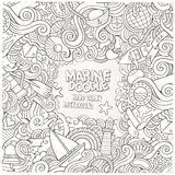Doodles abstract decorative nautical vector frame Royalty Free Stock Photo
