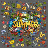 Doodles abstract decorative summer background Royalty Free Stock Photos
