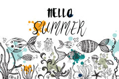 Doodles abstract decorative summer vector frame. Royalty Free Stock Images