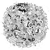Doodles abstract decorative summer vector illustration. Cartoon cute doodles hand drawn summer illustration. Line art detailed, with lots of objects background Royalty Free Stock Photo