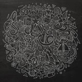Doodles abstract decorative summer vector illustration. Cartoon hand-drawn doodles summer illustration. Chalkboard detailed, with lots of objects vector Royalty Free Stock Photography