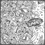 Doodles abstract decorative summer vector illustration. Cartoon hand-drawn doodles summer illustration. Line art detailed, with lots of objects vector background Stock Photos