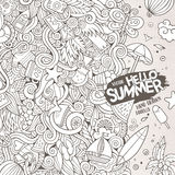 Doodles abstract decorative summer vector illustration. Cartoon hand-drawn doodles summer illustration. Line art detailed, with lots of objects vector background Stock Photo