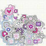 Doodles abstractos del cuaderno en el papel alineado Foto de archivo