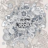Doodles abstrakcjonistycznego dekoracyjnego morskiego nautycznego wektor Zdjęcia Royalty Free