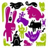 Doodles animales Fotos de archivo libres de regalías
