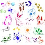 Doodles animales ilustración del vector