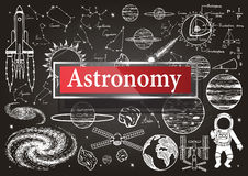Doodles about astronomy on chalkboard with transparent frame with the word Astronomy