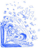 Doodles azules del bosquejo: gatos y libros Foto de archivo libre de regalías