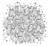Doodles birds group black and white owls Stock Images