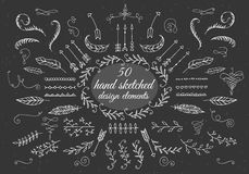 Doodles border, arrow, brushes, hearts, crown Stock Images