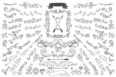 Doodles border,arrows,decor element. Floral hand Royalty Free Stock Images