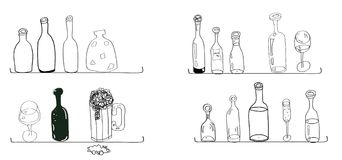 Doodles bottles lines curves kitchen cooking style Stock Image