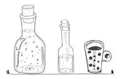Doodles bottles lines curves kitchen cooking style mug stock illustration