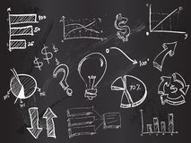 Doodles business on Blackboard Royalty Free Stock Photo
