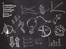 Doodles business on Blackboard. Vector Art Royalty Free Stock Photo