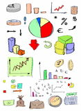 Doodles business icons Royalty Free Stock Image