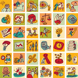 Doodles business icons color set Stock Images