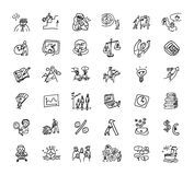 Doodles business icons set black and white Stock Photos