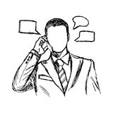 Doodles of businessman using mobile telephone Stock Photos