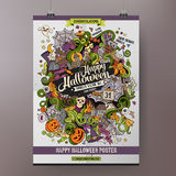 Doodles cartoon colorful Happy Halloween hand Stock Photos