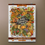 Doodles cartoon colorful Happy Thanksgiving poster Stock Photography