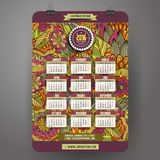 Doodles cartoon floral Calendar 2016 year. Design, English, Sunday start Royalty Free Stock Photos