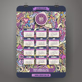 Doodles cartoon Love Calendar 2015 year. Design, English, Sunday start Royalty Free Stock Image