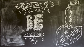 Doodles on chalk blackboard in the kitchen Royalty Free Stock Photos